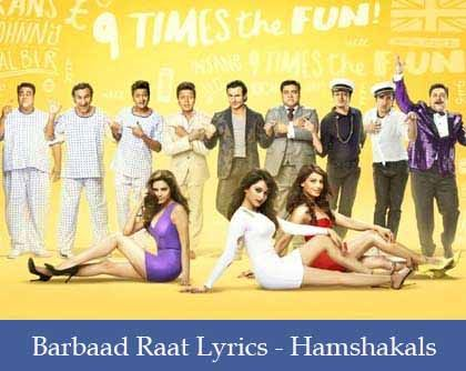 Barbaad Raat Lyrics