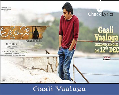 Gaali Vaaluga Lyrics | Anirudh | Pavan kalyan | Agnathavasi movie